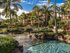 Koloa Landing Resort Poipu, Hawaii Exterior Grounds Lounge Luxury Ocean Tropical tree outdoor Resort body of water rock swimming pool vacation tourism arecales landscape Garden plant Village tropics Sea flower palm stone surrounded several