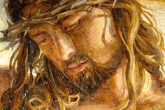A close-up of a mosaic measuring 13' x 9' of Christ's crucifixion; winner of the 2011 ArtPrize.