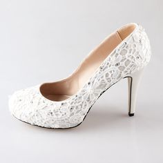 New Ivory lace pearl wedding shoes party shoes door Creativesugar