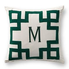 Made exclusively for Frontgate, the Maiandros Monogrammed Outdoor Pillow features an embroidered geometric frame and can be customized with a centered monogram.  | Frontgate: Live Beautifully Outdoors