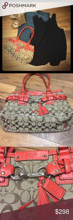 """Signature Coach Hamilton Handbag/gently used There is a nice braided tan leather piece which goes around the entire purse. In the front they are hooked together by two silver rings and a large silver clip attaching them together with a leather tassel attached. There is a 2/3 length zipper with a tan leather pull tab, liner is orange, inside one zippered pocket and two slip pocket on the opposite side, few ink spots. Dimensions: Height: 8 1/2"""" Length: 12 1/2"""" Depth: 3 1/4"""" Strap Drop: 7 3/4""""…"""