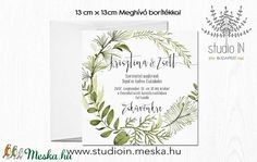 Levélkoszorús Meghívó, Esküvői Meghívó, Erdei Esküvő, Natur Meghívó, Levél,Örökzöld (Studioin) - Meska.hu