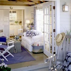 blue and white, always right! - love the small cottage look with the painted wood and open ceiling