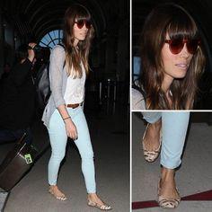 Jessica Biel Wearing Light Blue Jeans