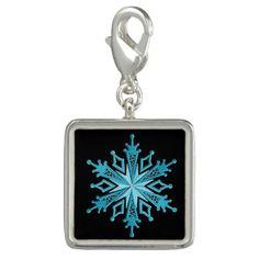 Ice Blue Snowflake Square Charm
