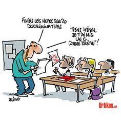 Faut-il supprimer les notes à l'école ? - Dessin du jour - Urtikan.net French Education, Teacher Humor, Satire, Caricature, Vignettes, Puns, Twitter, Lol, Teaching