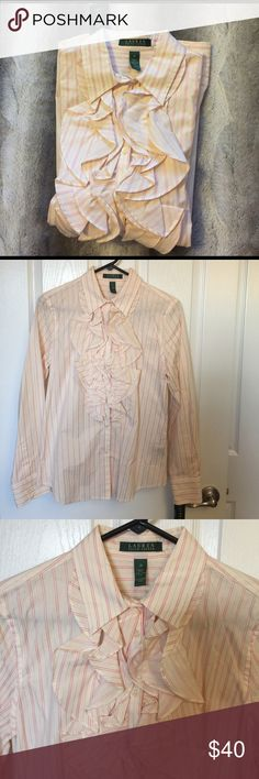 ❣️SALE❣️NWT SZ MD RALPH LAUREN PINK/OFF WHITE NWT Lauren Ralph Lauren, size medium, pink and off white/cream colored pinstriped button-up blouse w/ruffles. Lauren Ralph Lauren Tops Button Down Shirts