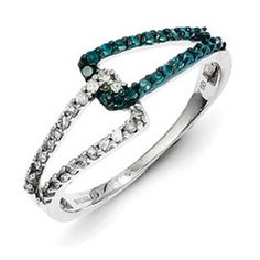Sterling Silver 1/3 Carat Blue White Diamond Interlocked Ring Available Exclusively at Gemologica.com