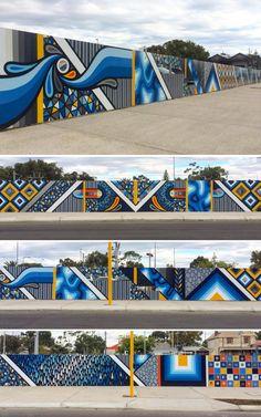 Graffiti Wall Art, Murals Street Art, Mural Wall Art, Mural Painting, Office Mural, School Murals, Exhibition Booth Design, Wall Drawing, Geometric Art