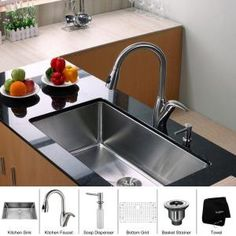 KRAUS All-in-One Undermount 32x19x10 0-Hole Single Bowl Kitchen Sink with Stainless Steel Kitchen Faucet-KHU100-32-KPF2120-SD20 at The Home ...