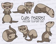 Premium Vector Clipart  Kawaii Ferret  Cute by LookLookPrettyPaper