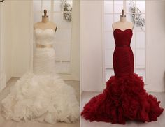Vera Wang Inspried Wine Red Burgundy/Ivory Organza Mermaid Weding Dress Bridal Gown on Etsy, $299.00