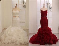 Vera Wang Inspried Wine Red Burgundy/Ivory Organza Mermaid Weding Dress Bridal Gown on Etsy, $299.00