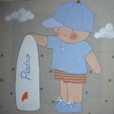 Cuadro infantil personalizado niño surf para Pedro