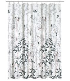 White/floral. Shower curtain in water-repellent polyester with a printed pattern. Metal grommets at top. Shower curtain rings sold separately. - H&M