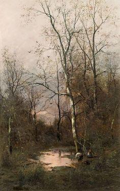 Adolf Kaufmann - Landscape in fall, oil on panel
