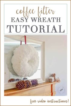Looking for an easy, budget DIY coffee filter wreath tutorial? This fun craft idea project is beautiful! Learn how to make this home decor at www.homebeautifully.com
