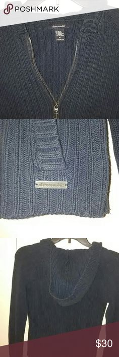 Vintage Abercrombie Hoodie Old school navy blue Abercrombie sweater, thick cords, beautiful condition. Its a kids XL but I wear it as a woman's small or extra small, torso is a bit short, won't go past your hips. You won't find this anywhere else! Abercrombie & Fitch Tops Sweatshirts & Hoodies