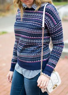Holiday outfit idea by Emillion Thoughts // fair isle sweater, fair isle pullover, Target style, navy blue fair isle, pattern mixing, fair isle and gingham, casual holiday style, casual winter style, holiday outfit, holiday fashion, Ugg boots, Ugg 'Ava' boots, Rebecca Minkoff mini love crossbody, how to style a fair isle sweater for winter, what to wear to a casual holiday get together