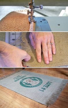 It seems like area rugs get kinda ignored in the DIY world… There was a day when most peoples' area rugs were made by hand, usually from scraps of fabric, or recycled supplies and were. Burlap Rug, Burlap Sacks, Burlap Crafts, Hessian, Silver Grey Carpet, Beige Carpet, Diy Carpet, Rugs On Carpet, Carpet Ideas