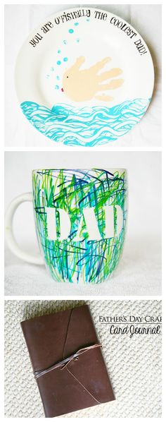 3 Easy Handmade Father's Day Gifts from the kids! A serving plate for lunch, a coffee mug colored with love and a card journal for Dad!
