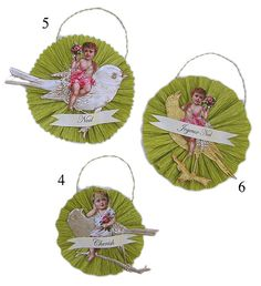 Victorian Child and Bird Christmas Ornaments by Iva's Creations, via Flickr