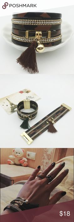 HOT ! Chic Military Bracelet Multilayer army green tassel bracelet, magnet buckle. Length: 7.5 inch. Jewelry Bracelets