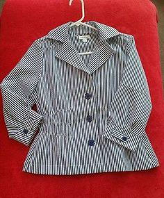 Joan Rivers Seersucker Signature Chic Jacket 3/4 Sleeve Striped Navy XS A222452