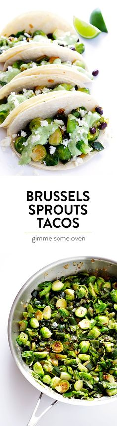 This Brussels Sprouts Tacos recipe is quick and easy to make, packed with fresh veggies, and drizzled with the most heavenly creamy avocado sauce. | http://gimmesomeoven.com