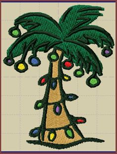 Palm Christmas Tree Machine Embroidery Design by gandgtreasures, $4.50