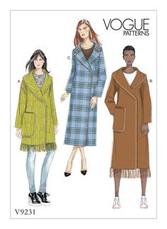 Vogue Patterns coat sewing pattern. V9231 MISSES' SHAWL OR NOTCH COLLAR COATS WITH BLANKET STITCHING