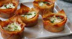 Individual lasagnas baked in a muffin tin. The cups can be assembled up to two days ahead of time and refrigerated until you're ready to bake. Get the recipe.