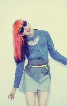 two-tone skirt, high waist