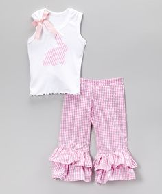 Look at this #zulilyfind! Pink Gingham Bunny Tanks & Ruffle Pants - Toddler & Girls by Beary Basics #zulilyfinds