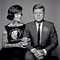 Celebrities Covered in Tattoos  : John F. Kennedy & Jacqueline Kennedy.