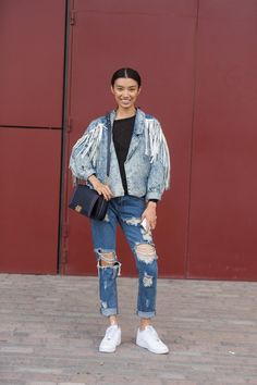 Pin for Later: See All the Best Street Style From LFW LFW Street Style Day 3 Hey Britney Spears, Justin Timberlake, and Katy Perry: that's how you do double-denim.