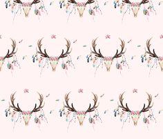 "7"" Bohemian Dreams Skull - Pink fabric by shopcabin on Spoonflower - custom fabric"