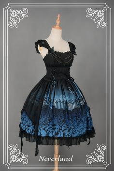 Natural Waist Butterfly Overlay Bowknot & Flower Decorated Lolita JSK Three Colors Available - Butterfly Cemetery by Souffle Song Estilo Lolita, Gothic Lolita Dress, Gothic Lolita Fashion, Lolita Style, Goth Style, Fashion Goth, Set Fashion, Fashion Dresses, Pretty Dresses