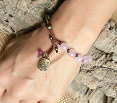 Gemstone jewelry, rose quartz bracelet, boho jewelry, leather bracelet, boho bracelet, bohemian bracelet, gifts for women, bohemian jewelry