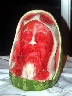 bwaaahahahhaaa!!  Watermelon Jesus fruit art #fruitart