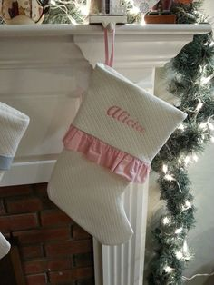Christmas Stocking colors: White, Natural, Pink, Blue & Yellow, available with either a band or ruffle.  •Bands or Ruffle fabric available: Red Ribbon, Hunter Green Ribbon, Red Gingham, Light Blue Gingham, Pink Gingham, Dark Blue Gingham, Lavender Gingham, Solid Pink, Solid Blue, Solid Yellow & White Cotton  •Personalization available in: Script Name, Block Name, Script Initials & Fancy Block Initials