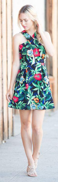 Blue Eyed Finch Tropical Print Dress Fall Inspo