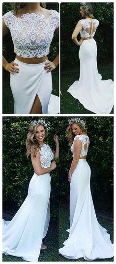 Two-Piece Zipper Lace Mermaid Sweep-Train Modest White Wedding Dress M5991 91960e9846de