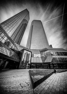 and white (January 15 2016 at Deutsche Bank Frankfurt. Frankfurt, January 15, Louvre, Architecture, City, Building, Photography, Travel, Arquitetura