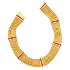 Eight Strand Braided Gold and Cabochon Ruby Necklace, Hemmerle