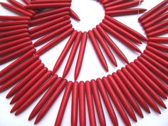 Red needle-shaped beads - from eightjewelry on Etsy $11.50  #jewelry #supplies #diy #craft #style