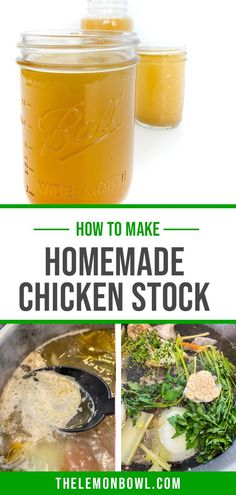 Make your own homemade chicken stock at home with this easy, step-by-step recipe tutorial! Great for soups, stews, braises and more. Vietnamese Pho, Lemon Bowl, Homemade Chicken Stock, Healthy Soup Recipes, How To Make Homemade, Stew, Vegetables, Hearty Soup Recipes, One Pot