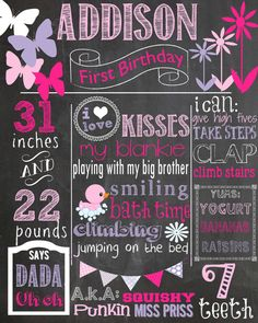 Custom First Birthday Colored Chalkboard Poster/ Invitation - Birthday Sign -Pink Ombre - Purple - Butterflies - Flowers - Shabby Chic