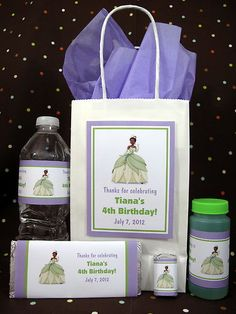 Princess and The Frog Tiana Birthday PDF CD w Favors Water Candy Label Wrappers | eBay