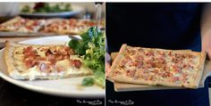 Tarte Flambée, or Flammekueche : a very thin pizza-like dough, often served in a rectangular shape, garnished with thinly sliced onion and lardons over a layer of fresh cream Fresh Cream, Pug, France, Food, Pie, Essen, Pugs, Meals, Yemek